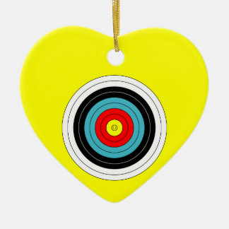Sports Archery Target on Yellow Heart Double-Sided Heart Ceramic Christmas Ornament