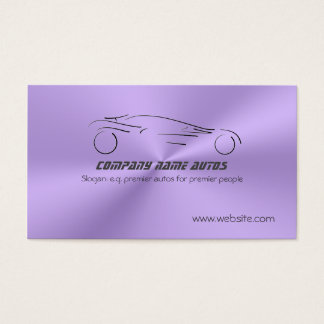 Sports Auto on Lilac Metallic Steel Effect Business Card