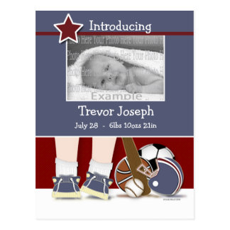 Sports Baby Announcement Template Postcard
