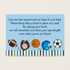 Sports Baby Shower Book Request Cards at Zazzle