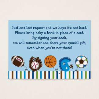 Sports Baby Shower Book Request Cards
