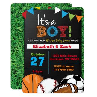 Sports Baby Shower Invitations Announcements Zazzle