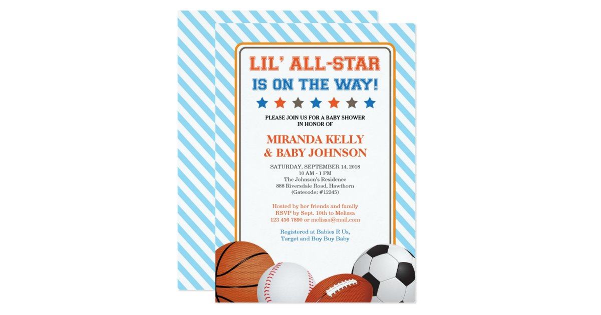 sports baby shower invitation all star sports card zazzle