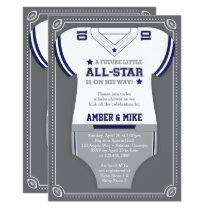 Sports Baby Shower Invitation, Football, Blue Gray Card
