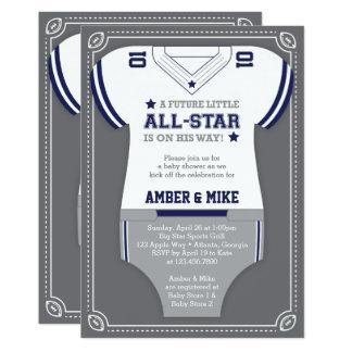 Sports Baby Shower Invitation, Football, Blue Gray Card