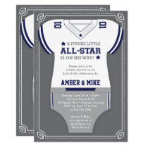 Sports Baby Shower Invitation, Football, Blue Gray Invitation