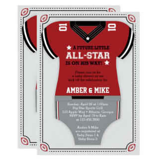 Sports Baby Shower Invitation, Football, Red Black Card