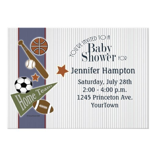 Sports Baby Shower Personalized Invite
