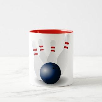 sports ball bowling tournament game team fun Two-Tone coffee mug