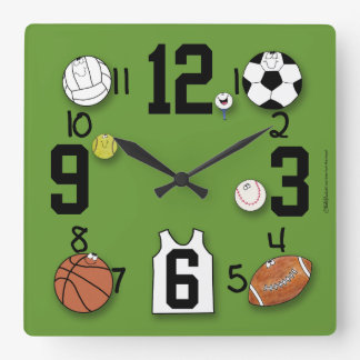 Sports Ball Characters-Sports Equipment Square Wall Clocks