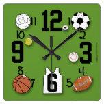 Sports Ball Characters-Sports Equipment Square Wallclocks