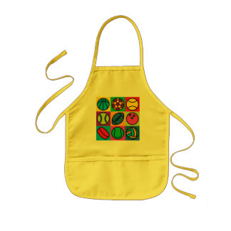 Sports Ball Checkerboard Kids' Apron