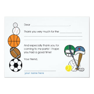Sports Balls Birthday Party Thank you note Card
