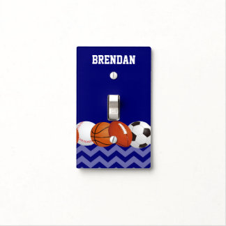 Sports Balls Blue Personalized Light Switch Cover