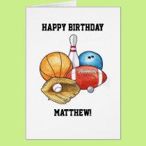 Sports Balls Personalized Birthday Card