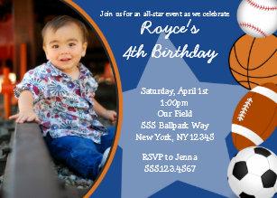 Sports Baseball Basketball Birthday Invitations