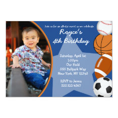 Sports Baseball Basketball Birthday Invitations at Zazzle