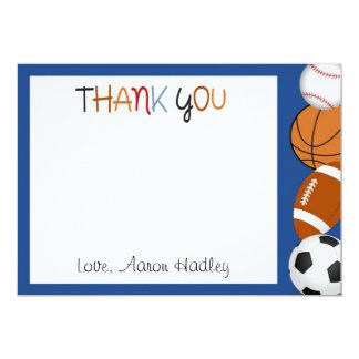 Sports Baseball Football Birthday Thank You Card Invites