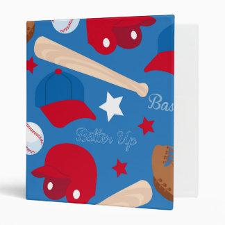 SPORTS Baseball Glove Bat Fun Colorful Pattern Binder