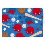 SPORTS Baseball Glove Bat Fun Colorful Pattern Card