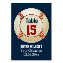 Sports Baseball theme Personalized table numbers Card