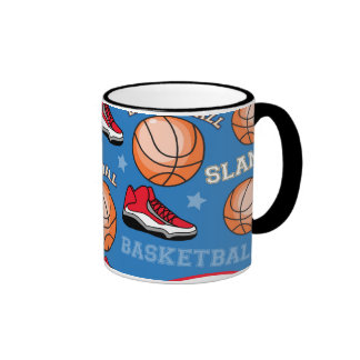 SPORTS Basketball Fun Athlete Colorful Pattern Ringer Coffee Mug