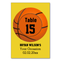 Sports Basketball theme Personalized table numbers