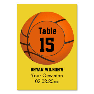 Sports Basketball theme Personalized table numbers Card