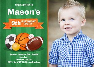 Sports Birthday Invitation Party Boys All Star