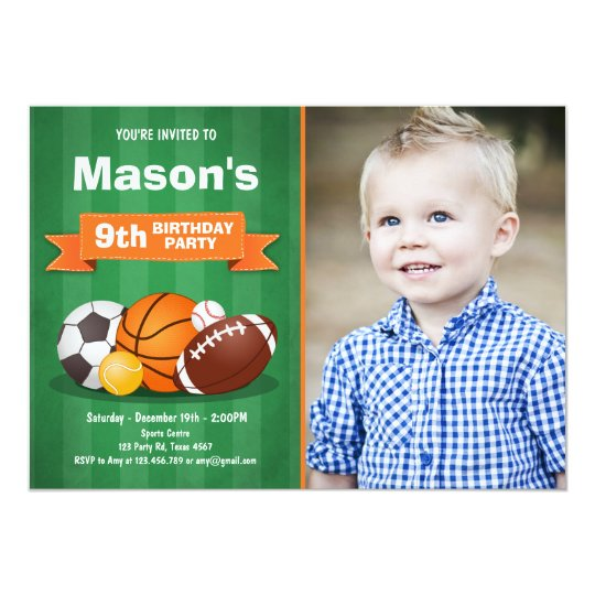 Sports Birthday Invitation Party Boys All Star Zazzle Com