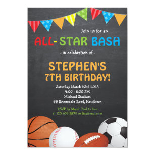 Sports birthday invitations announcements zazzle sports birthday invitation sports invitation filmwisefo Image collections