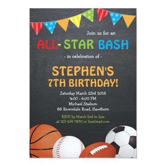 Sports Birthday Invitation Sports Invitation Zazzlecom
