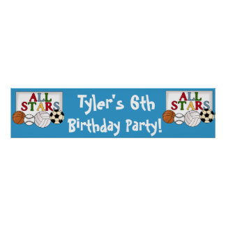 Sports Birthday Party Banner Poster
