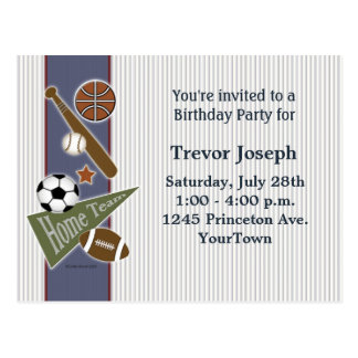 Sports Birthday Party Invitation Postcard