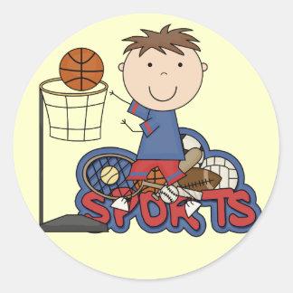 Sports Boy Basketball Tshirts and Gifts Round Sticker