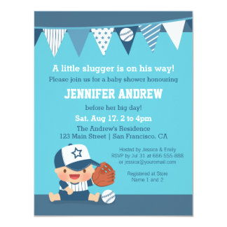 Sports Boy Blue Baseball Baby Shower Invitations