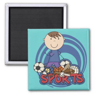 Sports Boy Soccer T-shirts and Gifts 2 Inch Square Magnet