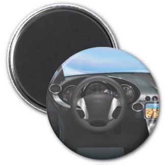 Sports Car Dashboard 2 Inch Round Magnet