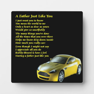 Sports Car Father Poem Plaque