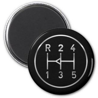 Sports car gear knob, transmission shift pattern 2 inch round magnet