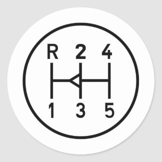 Sports car gear knob, transmission shift pattern classic round sticker