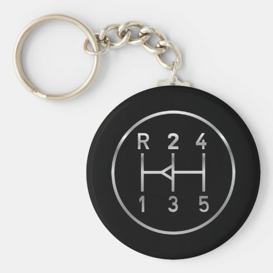 Sports car gear knob, transmission shift pattern keychain
