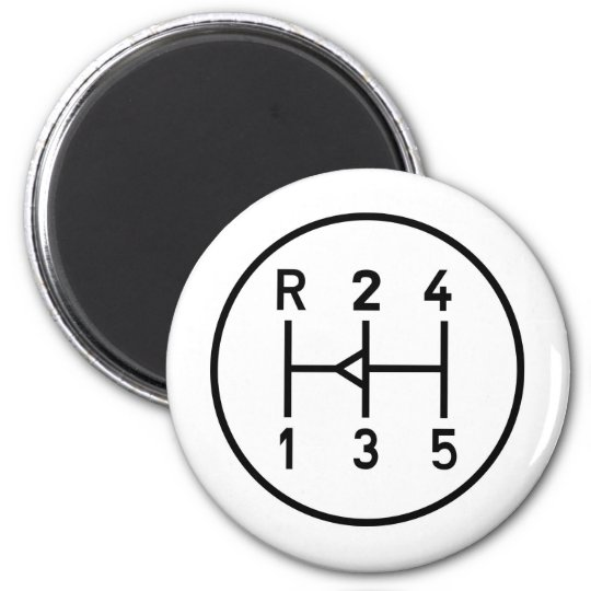 Sports car gear knob, transmission shift pattern magnet