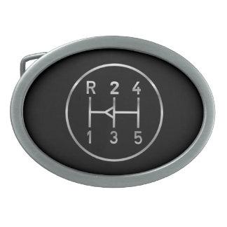 Sports car gear knob, transmission shift pattern oval belt buckle