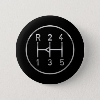 Sports car gear knob, transmission shift pattern pinback button