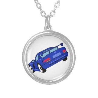 Sports Car Round Pendant Necklace
