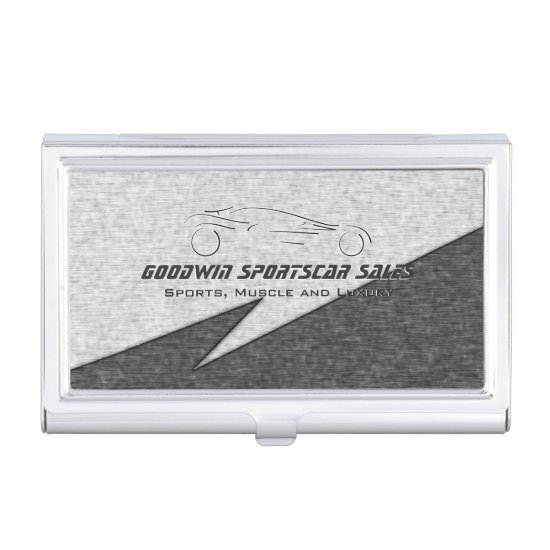 Sports Car Sales - faux metal, silver auto Business Card Case