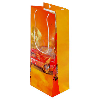 Sports car with flame and fire wine gift bag