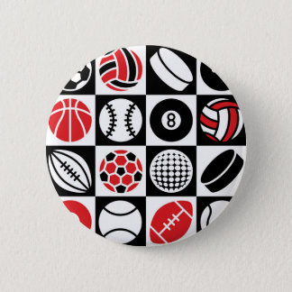 Sports Checkerboard Pinback Button