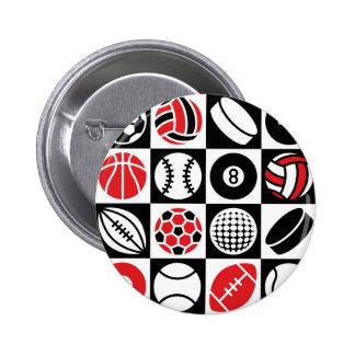 Sports Checkerboard Pinback Button